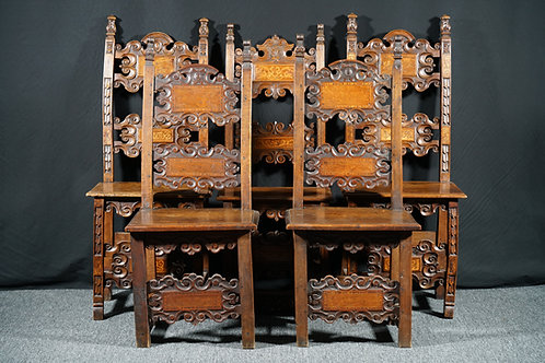 Five Italian renaissance walnut chairs, 17th century (R16)
