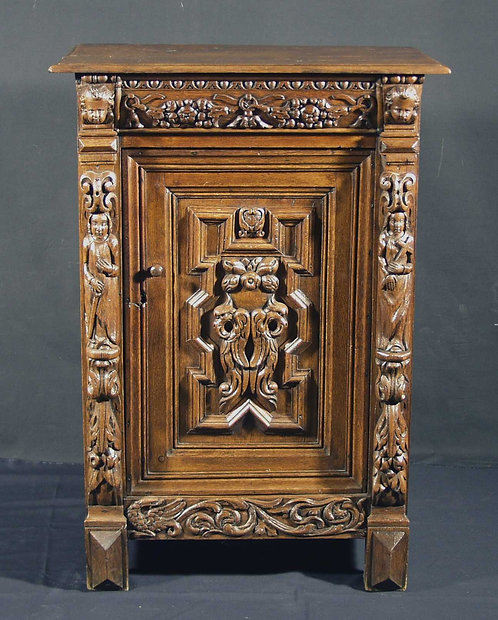A Flemish 1-door oak cupboard, dated 1633  (G40)