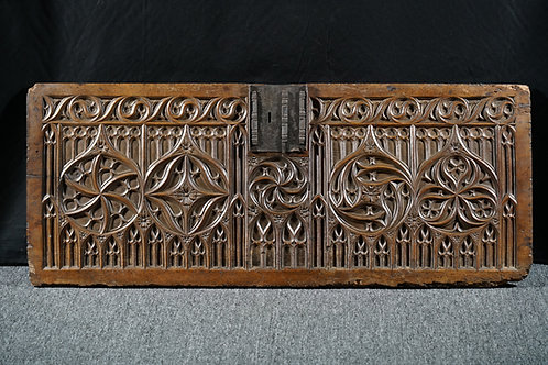A fine French Gothic walnut chest front, 15th century (R15)