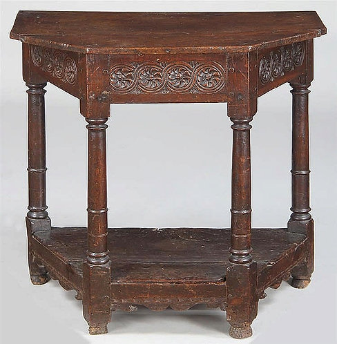 An English oak hall or credence table, 17th century  (T07)