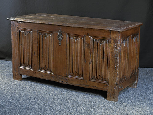 A French linenfold oak chest, first half 16th century, Q53