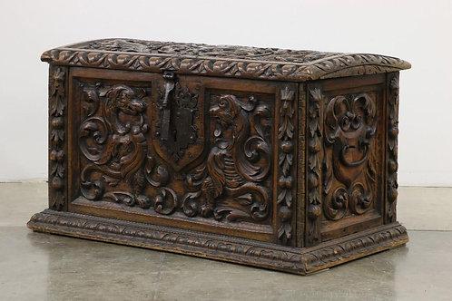 Spanish carved walnut chest, 18th century (V43)