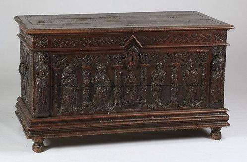 A Renaissance style oak chest, 17th century & later (R10)