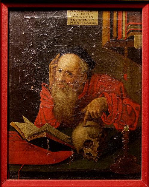 Netherlandish oil on canvas, St. Jerome, 16th century  (J02)