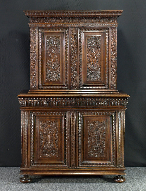 A French renaissance-style walnut cupboard, 18th/19th century  (Q58)