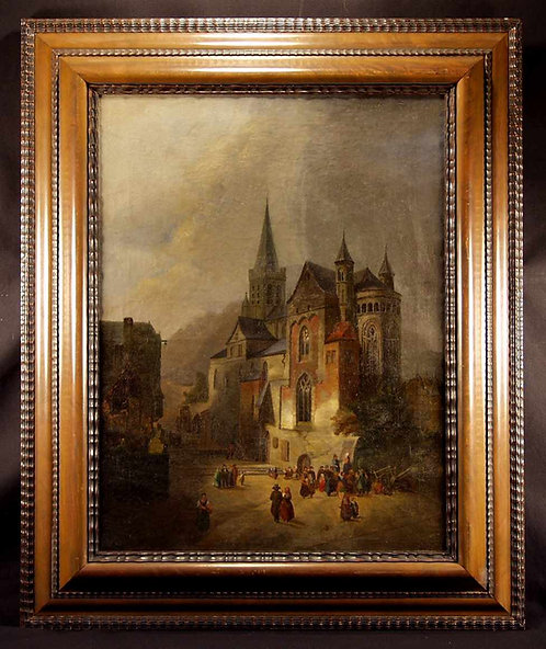 Oil on canvas, Gothic cathedral, 19th century  (F76)