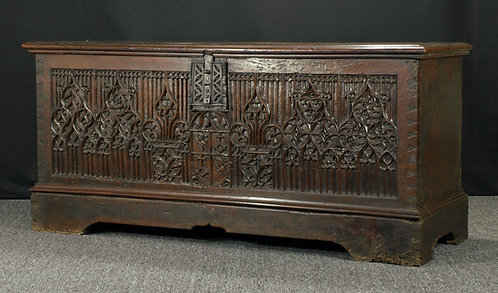 A large and fine French gothic walnut chest, 15th century  (Q05)