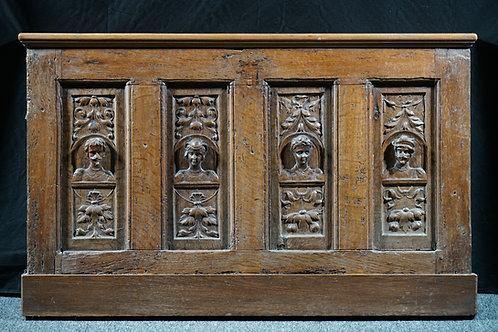 A Flemish oak chest front, mid 16th century (N09)