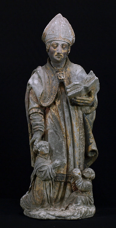 A limestone sculpture of Saint Evêque, late 15th / early 16th century  (Q51)