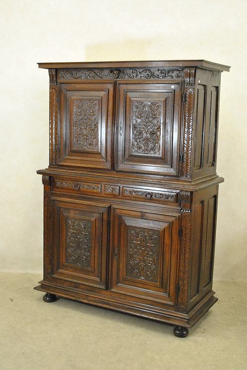 A French walnut cupboard, 17th century  (O01)