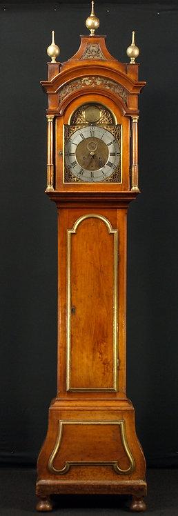 A German fruitwood longcase clock, late 18th century  (K13)