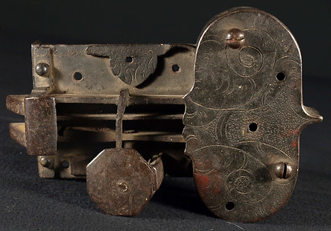 A large German  iron door lock, 18th century, 18th century  (L18)
