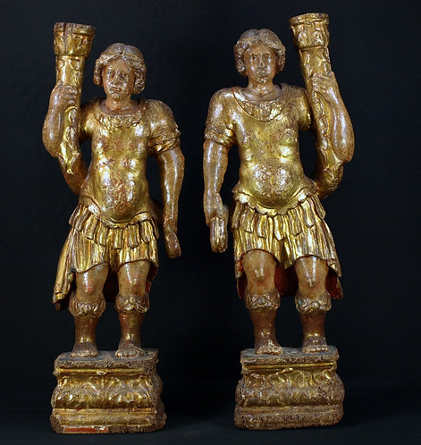 Gilded wood candlesticks, 17th century  (O15)