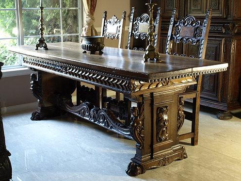 Italian renaissance style walnut dining table, part 17th century (T19)