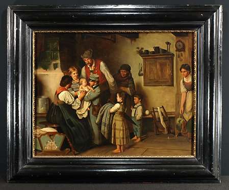 Oil on canvas, Visit from the postman, 19th century  (I14)