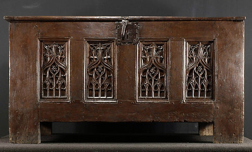 A large French gothic oak chest, 15th century  (K05)