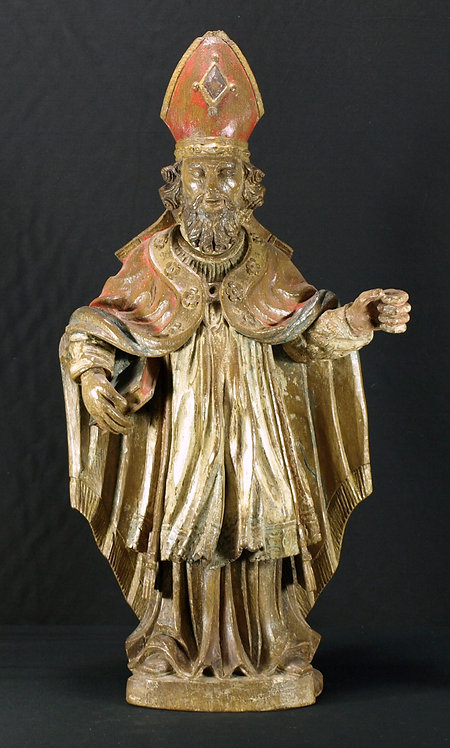 A French oak sculpture of a bishop, 17th century  (N03)