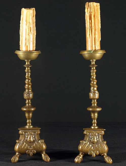 A pair of Dutch bronze candlesticks in the 17th c. style, 19th century  (L19)