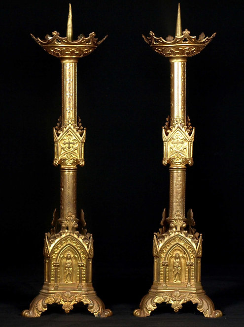 A pair of gothic-style ecclesiastical candlesticks, 19th century  (K12)