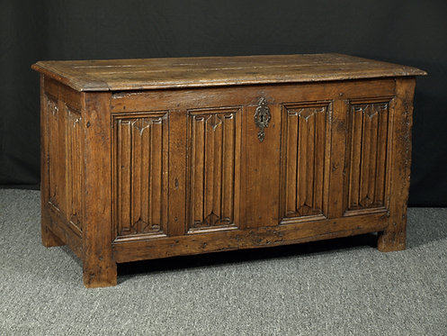 A French linenfold oak chest, 16th century Q53