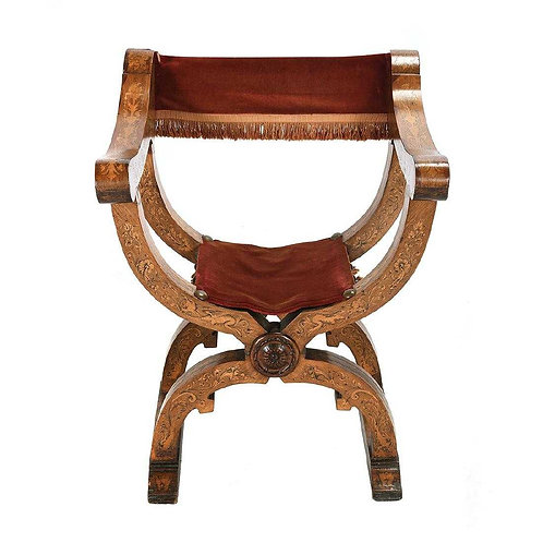 Savonarola chair with marquetry inlay, 19th century (V10)