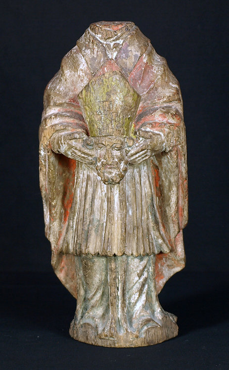 A small wooden sculpture of St. Denis, 15th century  (Q41)