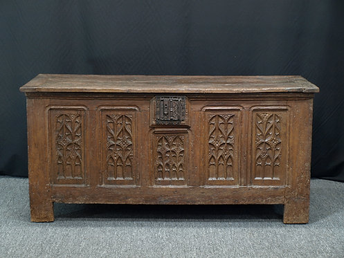 French gothic oak chest, early 16th century (U04)