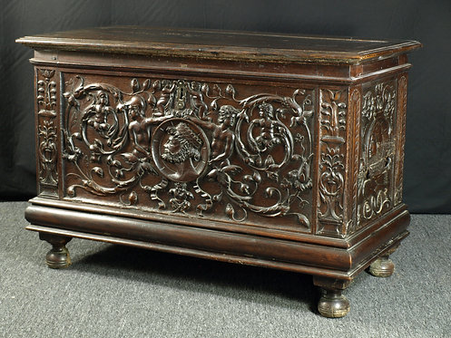 A French renaissance walnut chest, first half 16th century.  (Q14)