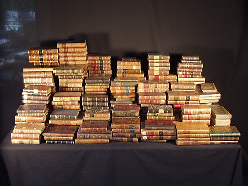 A collection of leather-bond books, over 250, mostly 19th century  (F52