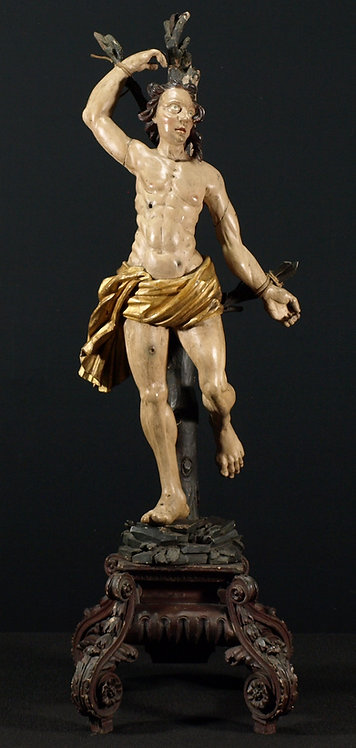 A Baroque wood and polychrome figure of St. Sebastian, 17th century (L28)