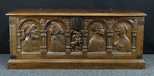 A French renaissance walnut chest, 16th century; alterations  (Q66)