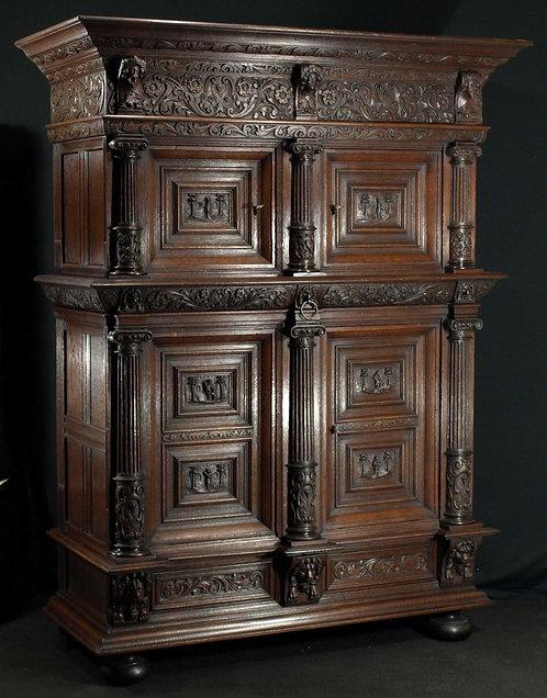 A Dutch oak cupboard, mid 17th century  (L35)