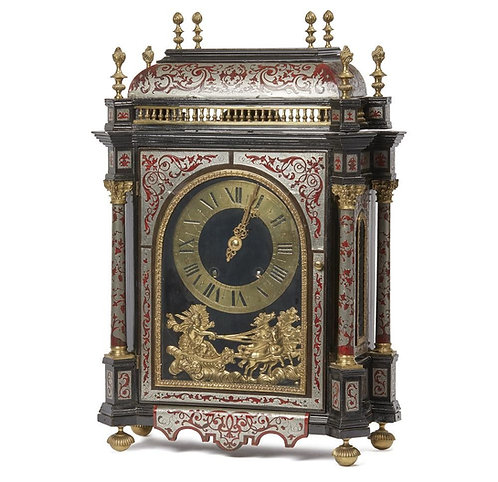 A French tortoiseshell, brass, and silvered table clock, 19th century (V15)