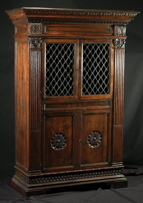 An Italian renaissance-style walnut bookcase, 19th century  (C03)