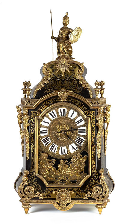 A large French tortoiseshell and brass table clock, 19th century
