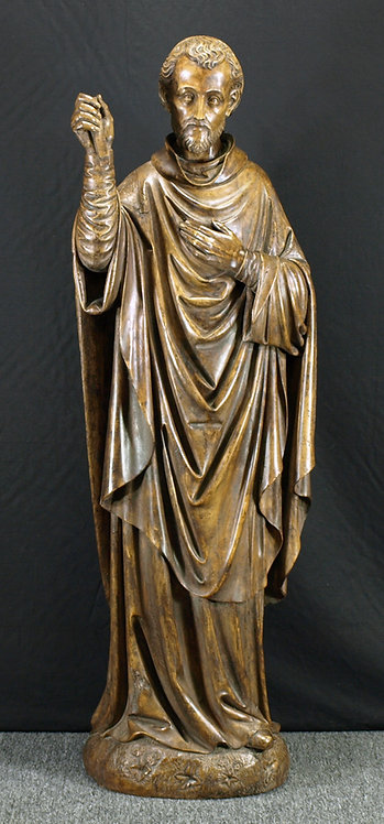 """A large (4'7"""") wood sculpture of St. Peter, 18th century  (Q62)"""
