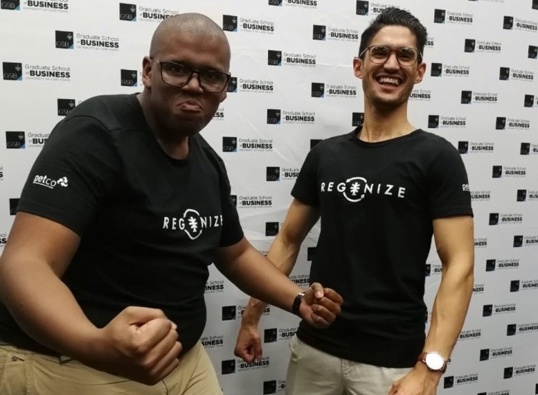 Nkazi & Chad at the MTN VIPSS18 Pitch Night, showing off their t-shirts made from 100% PET plastic bottles.