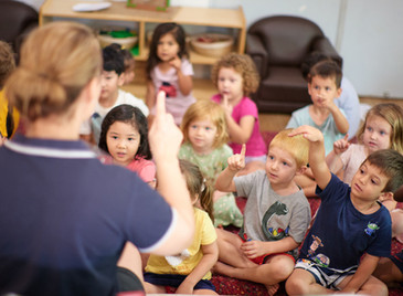 Educator teaching preschool kids