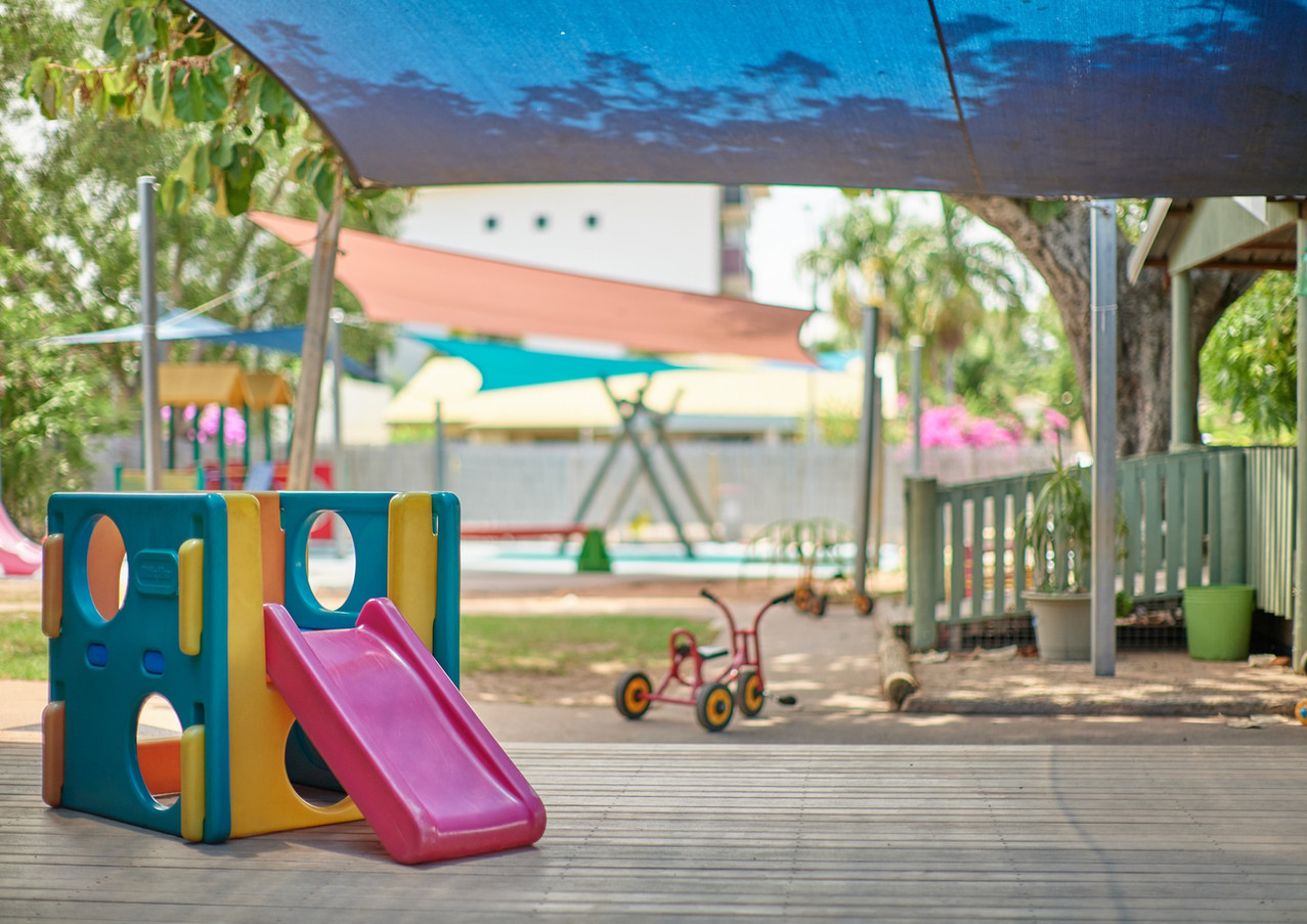 Toddler slide in childcare yard