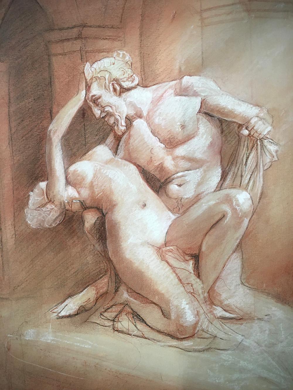 """Dessin de Kate Chartier réalisé à partir de sa technique """"mémoire des muscles"""""""
