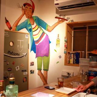 """Mr. TRA"" wall mural. Acrylic. (「TRAさん」で壁の壁画 アクリル絵の具)"