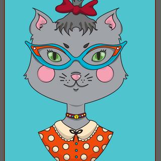 """""""Catgirl"""" graphic design. Illustrator. (「キャットガール」グラッフィックデザイン、イラストレータ使用)"""