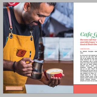 Cafe Magazine Design Sample. InDesign.(カフェ 雑誌デザイン サンプル InDesign使用)