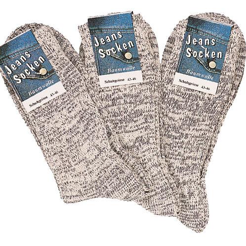 Jeans Socken hellgrau meliert, 3 Paar