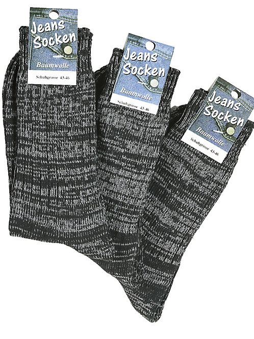 Jeans Socken schwarz meliert, 3 Paar
