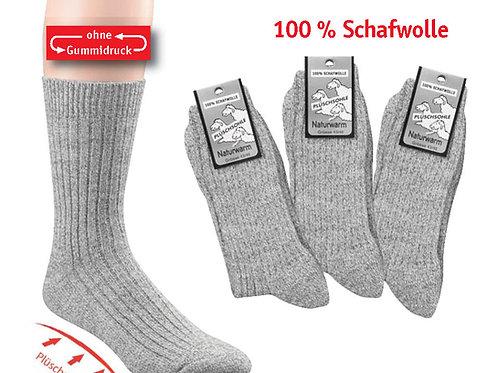 100% Wollsocken Schafwolle ohne Gummidruck dick, 3 Paar