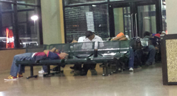 Sleeping at the bus station