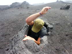Climbing into a lava pocket