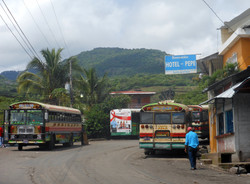 Buses in queue at the border