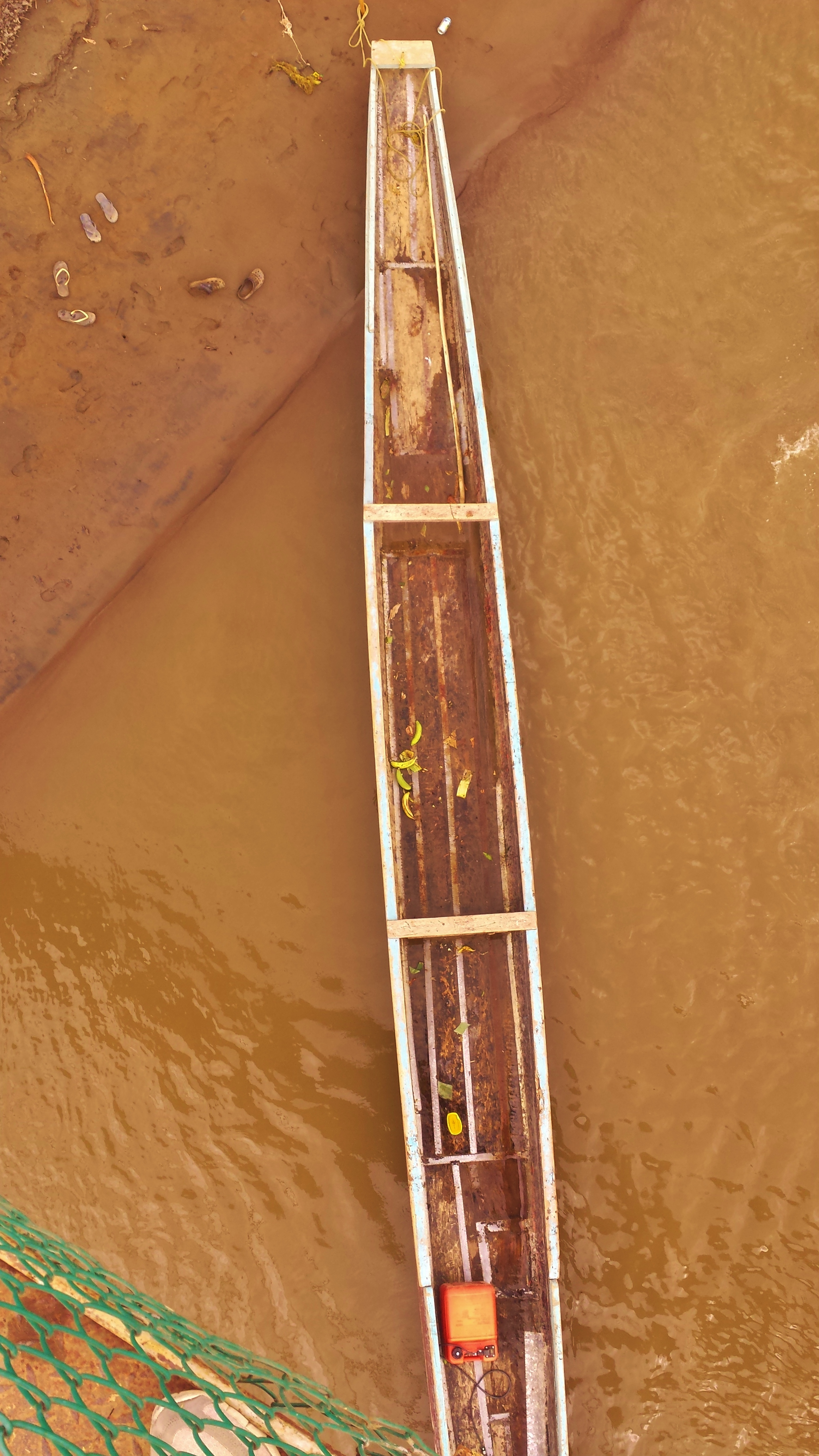 Aerial view of a canoe